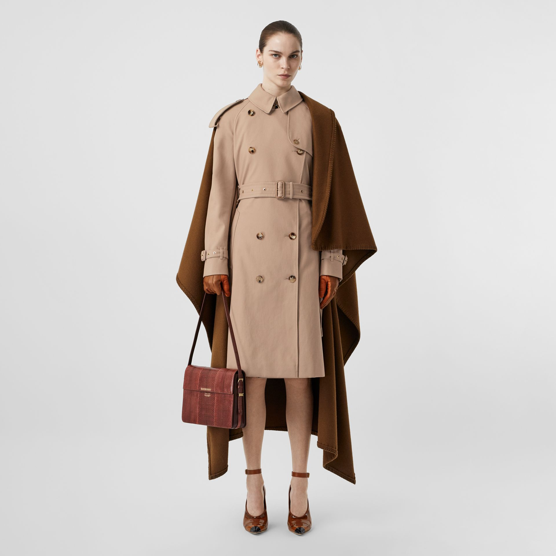 Blanket Detail Cotton Gabardine Trench Coat in Camel - Women | Burberry Singapore - gallery image 0