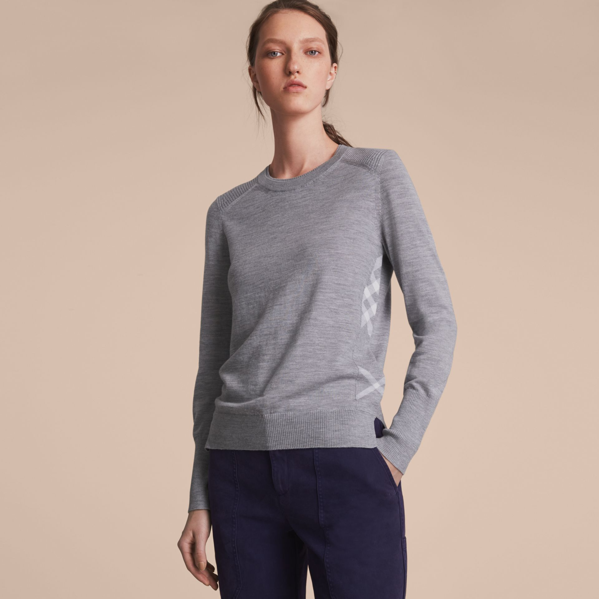 Check Detail Merino Wool Sweater in Mid Grey Melange - Women | Burberry - gallery image 7