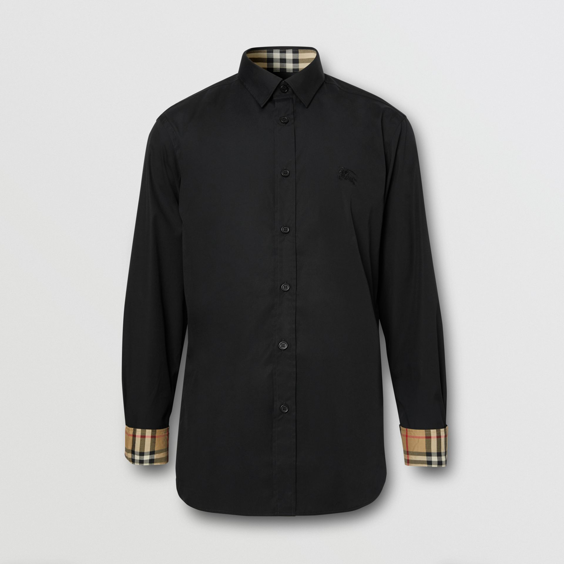 Slim Fit Embroidered EKD Stretch Cotton Shirt in Black - Men | Burberry - gallery image 3