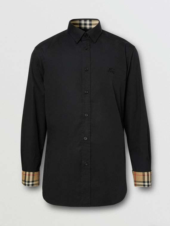 Slim Fit Embroidered EKD Stretch Cotton Shirt in Black