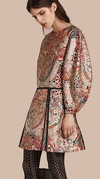 Metallic Floral Jacquard Sculptured Sleeve Dress