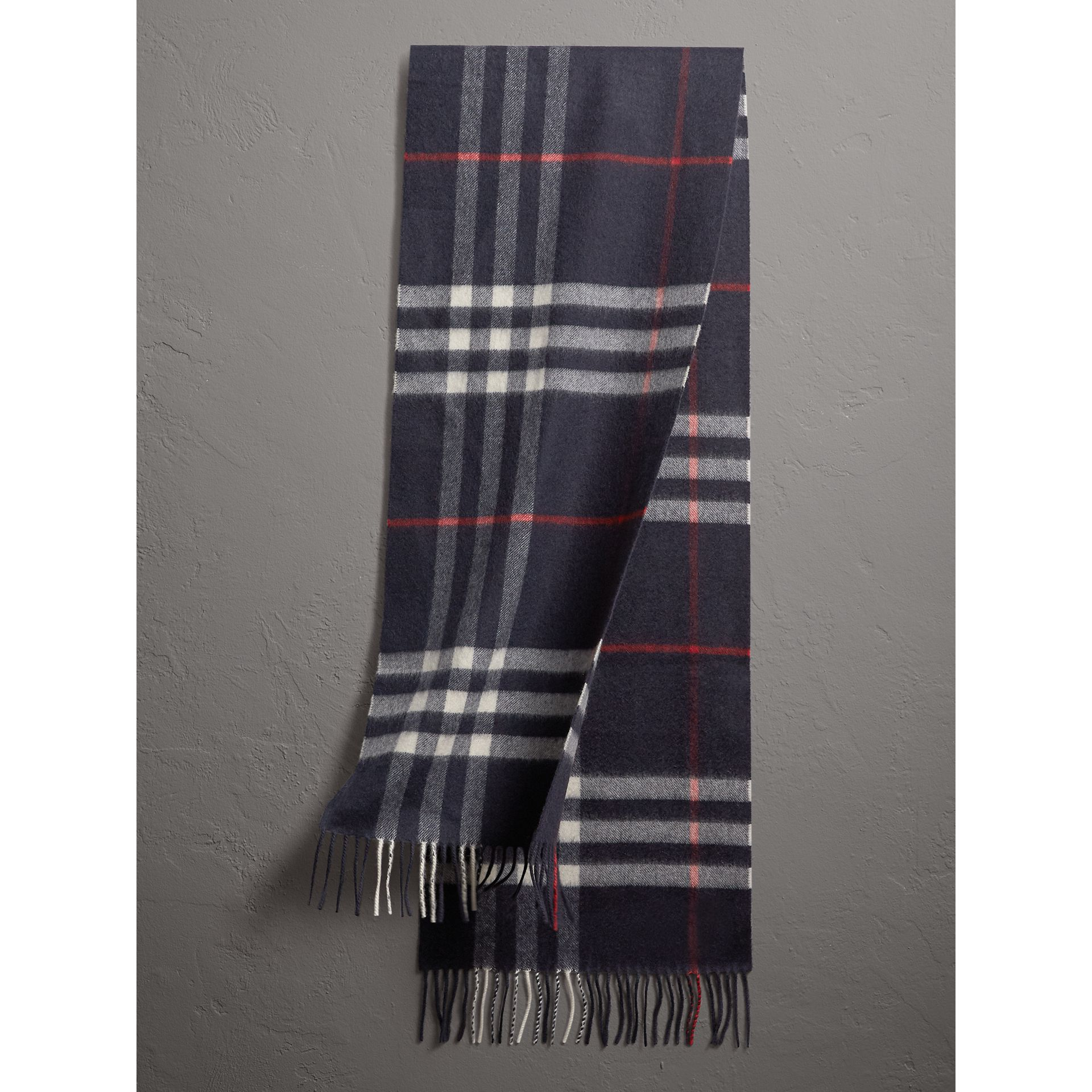 The Classic Check Cashmere Scarf in Navy | Burberry Singapore - gallery image 1