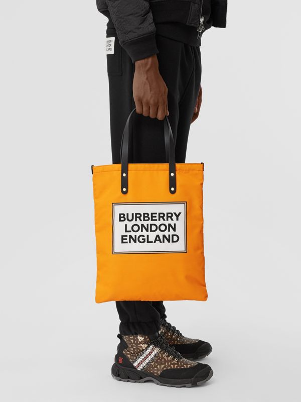 Logo Print Nylon Tote Bag in Orange | Burberry - cell image 3