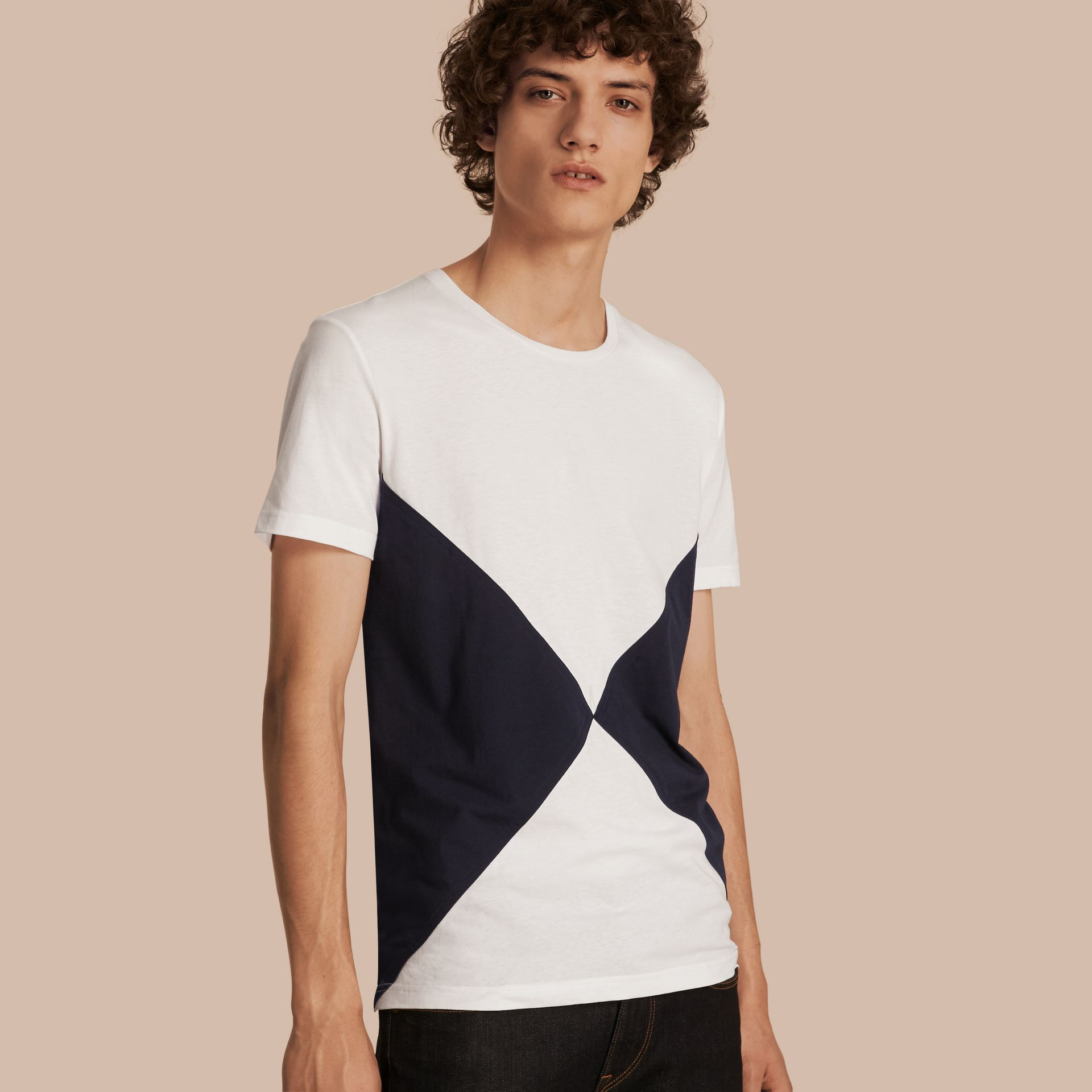 Overlaid Geometric Motif Cotton T-shirt - gallery image 1