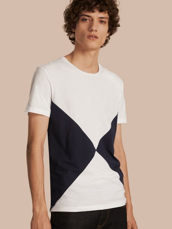 Overlaid Geometric Motif Cotton T-shirt
