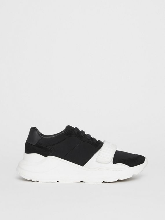 Suede, Neoprene and Leather Sneakers in Black/optic White