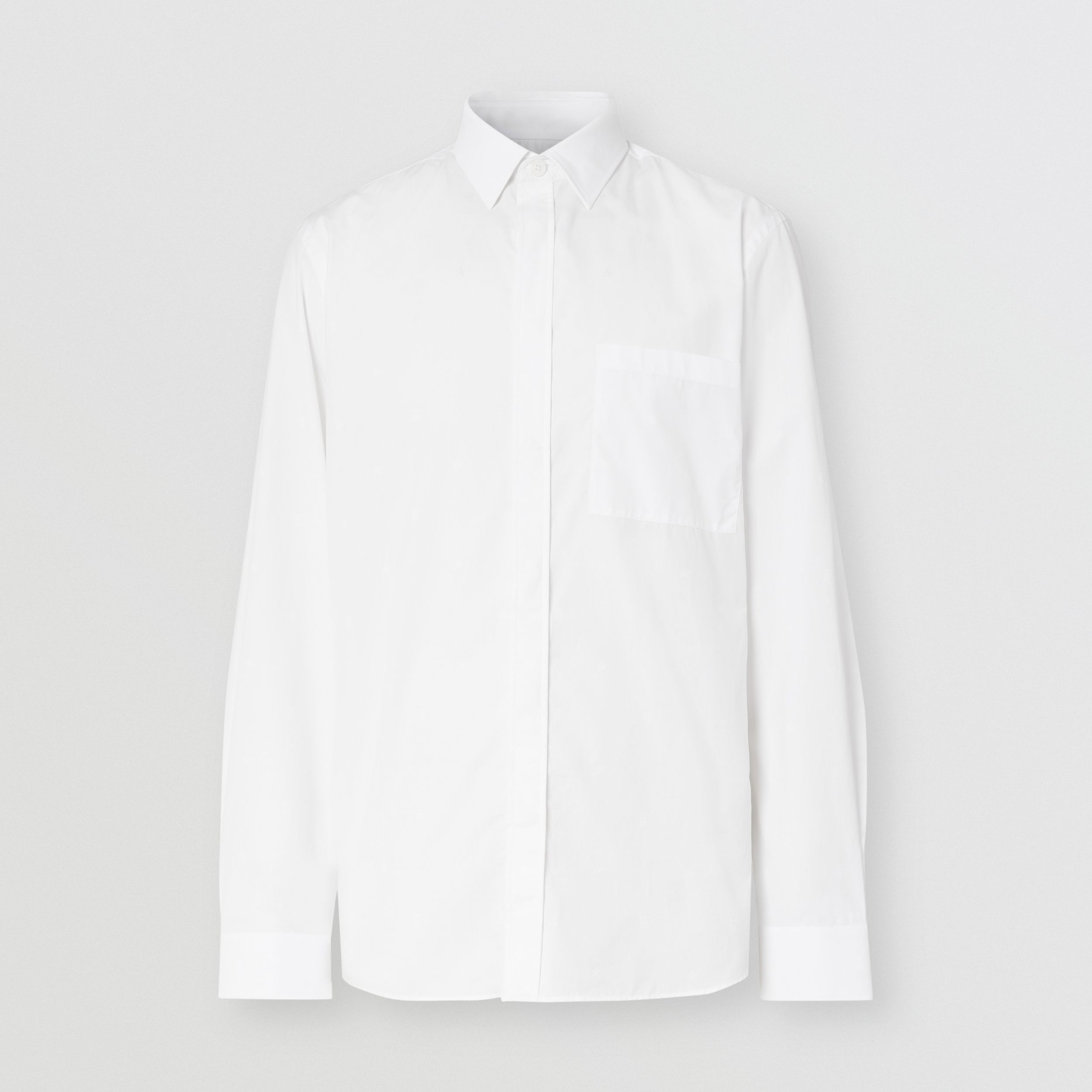Slim Fit Star and Monogram Motif Cotton Shirt in White - Men | Burberry - 4