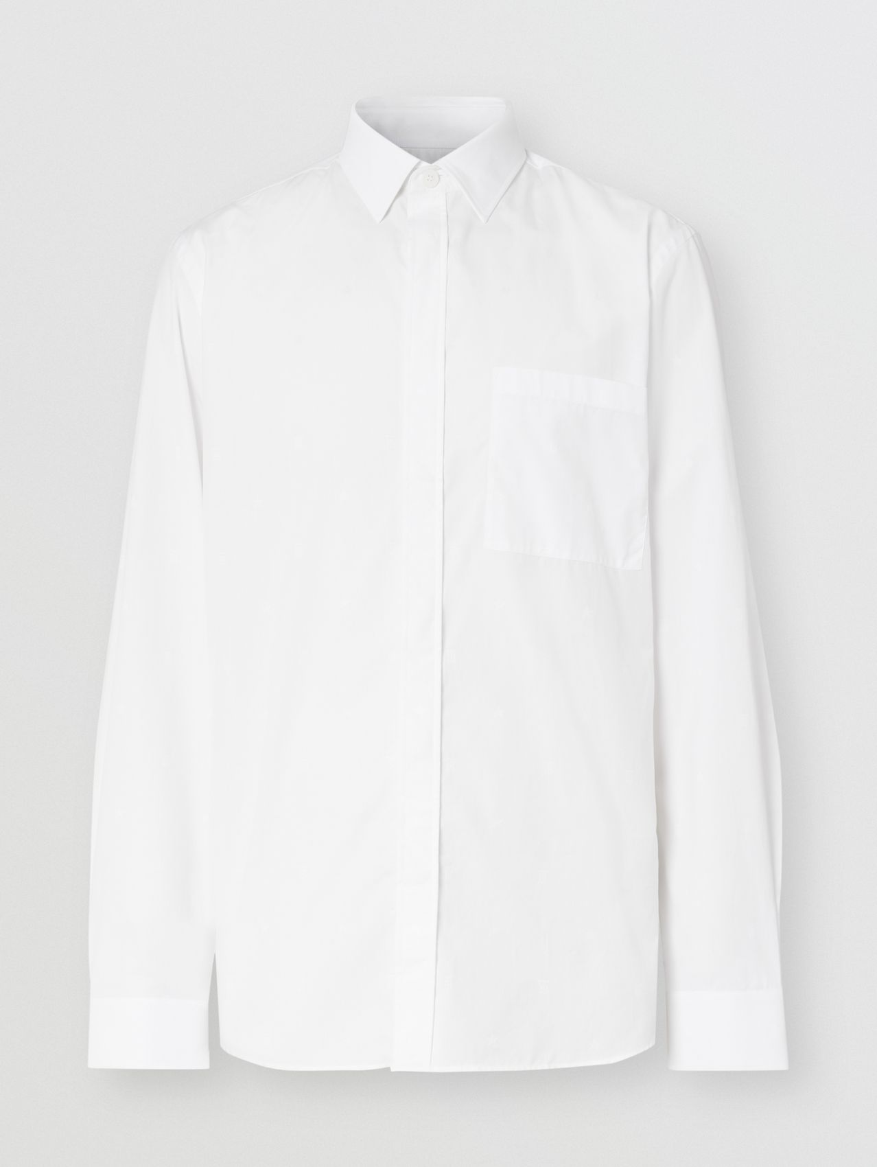 Slim Fit Star and Monogram Motif Cotton Shirt in White