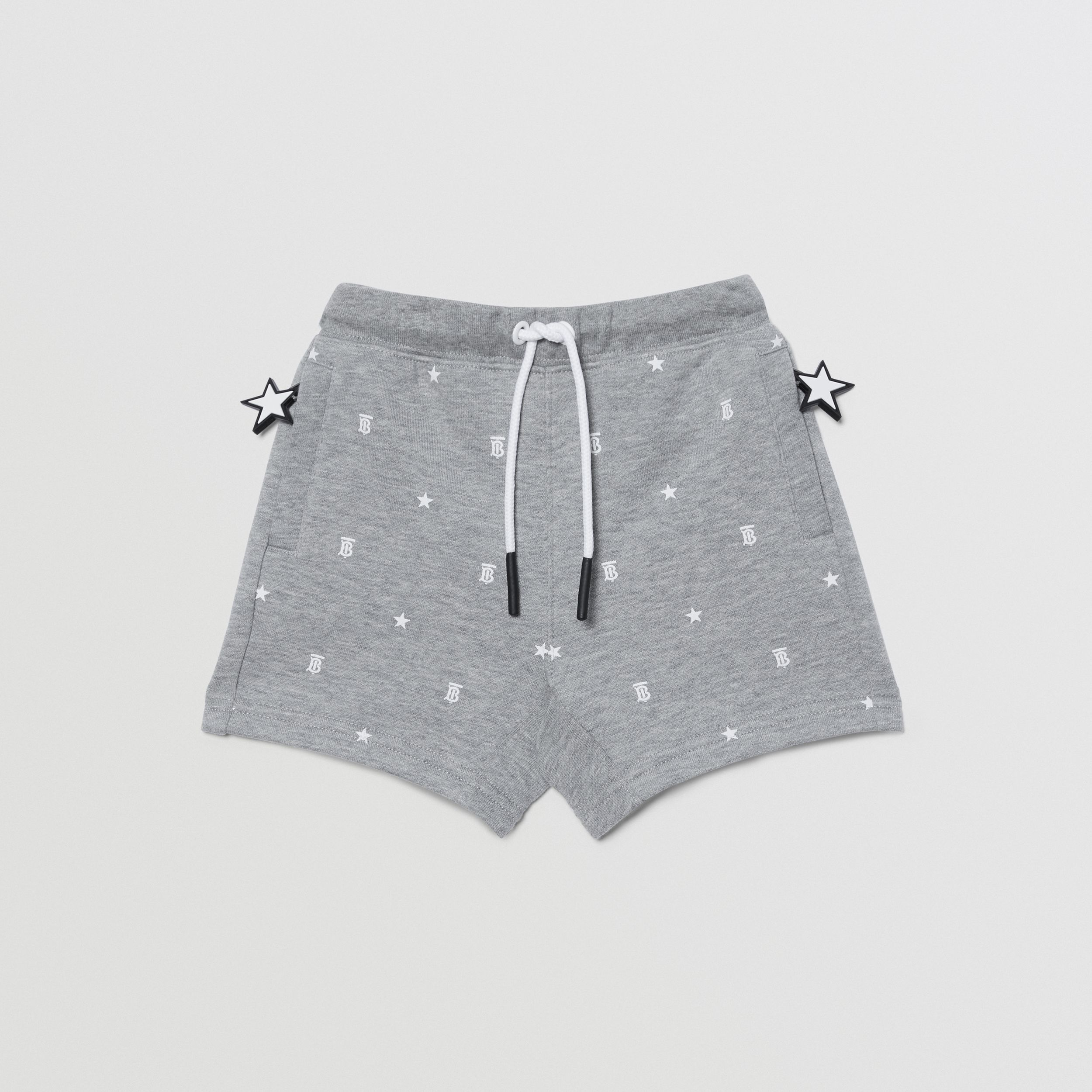 Star and Monogram Motif Cotton Shorts in Grey - Children | Burberry United Kingdom - 1