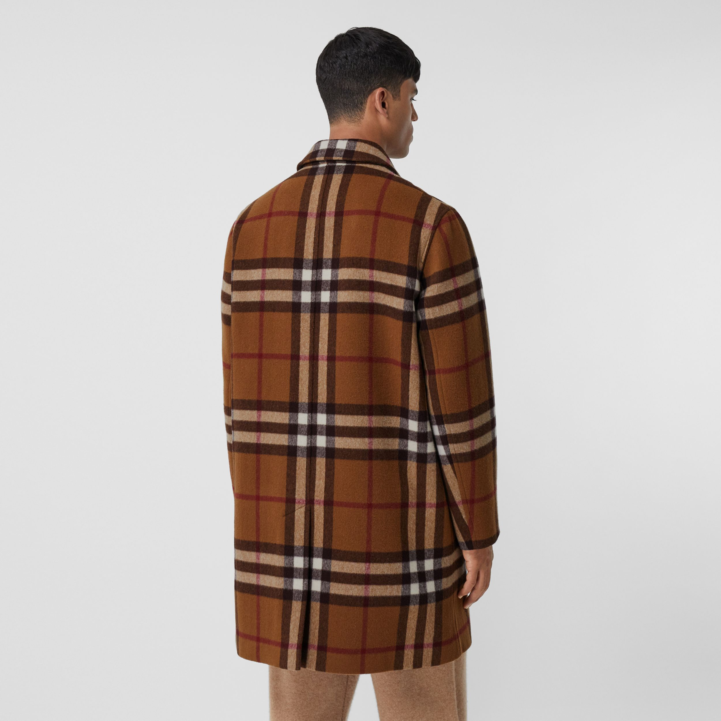 Double-faced Check Wool Car Coat in Dark Birch Brown | Burberry - 3