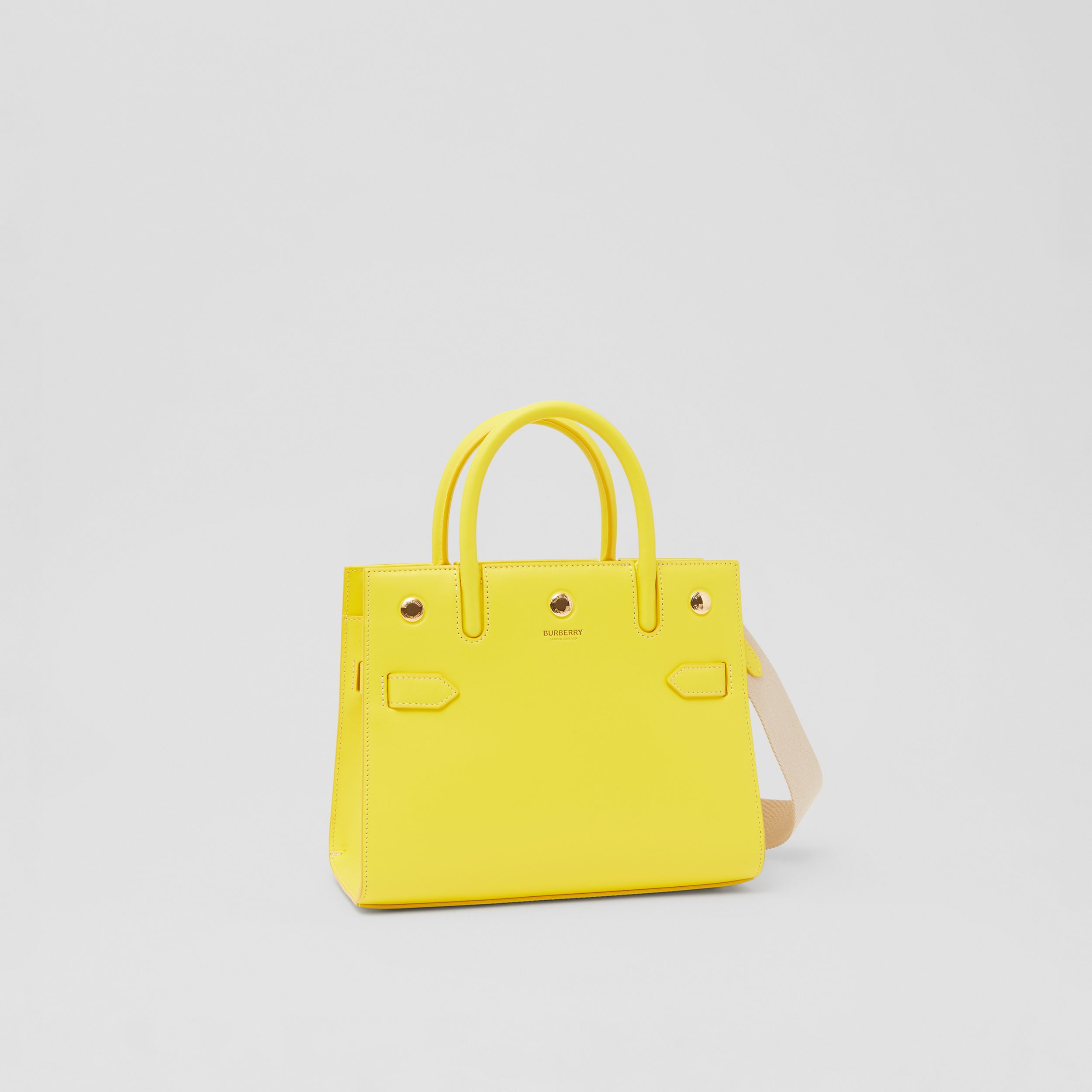 Mini Leather Two-handle Title Bag in Marigold Yellow - Women | Burberry - 4