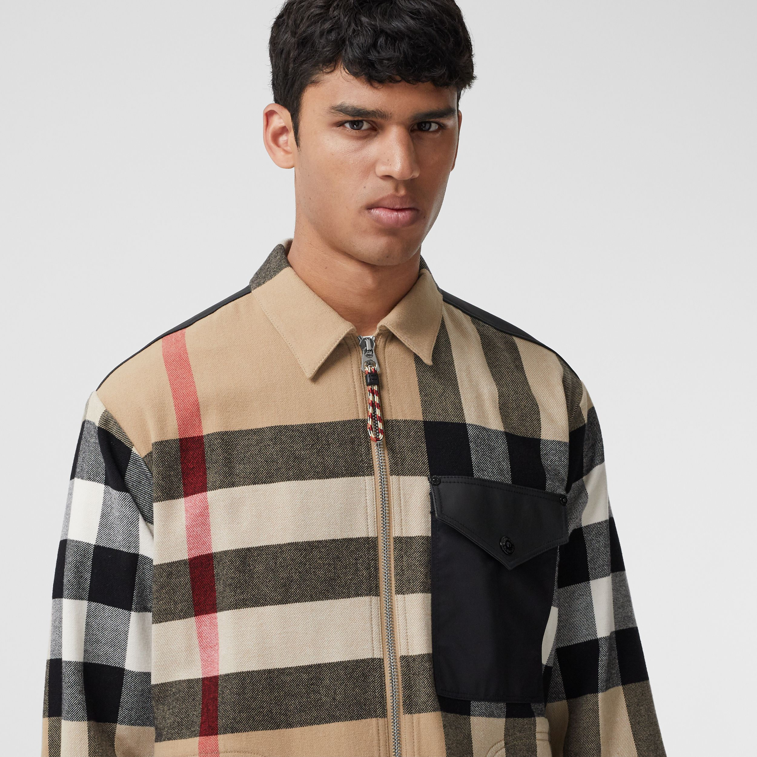 Contrast Panel Check Wool Cotton Shirt in Archive Beige - Men | Burberry - 2