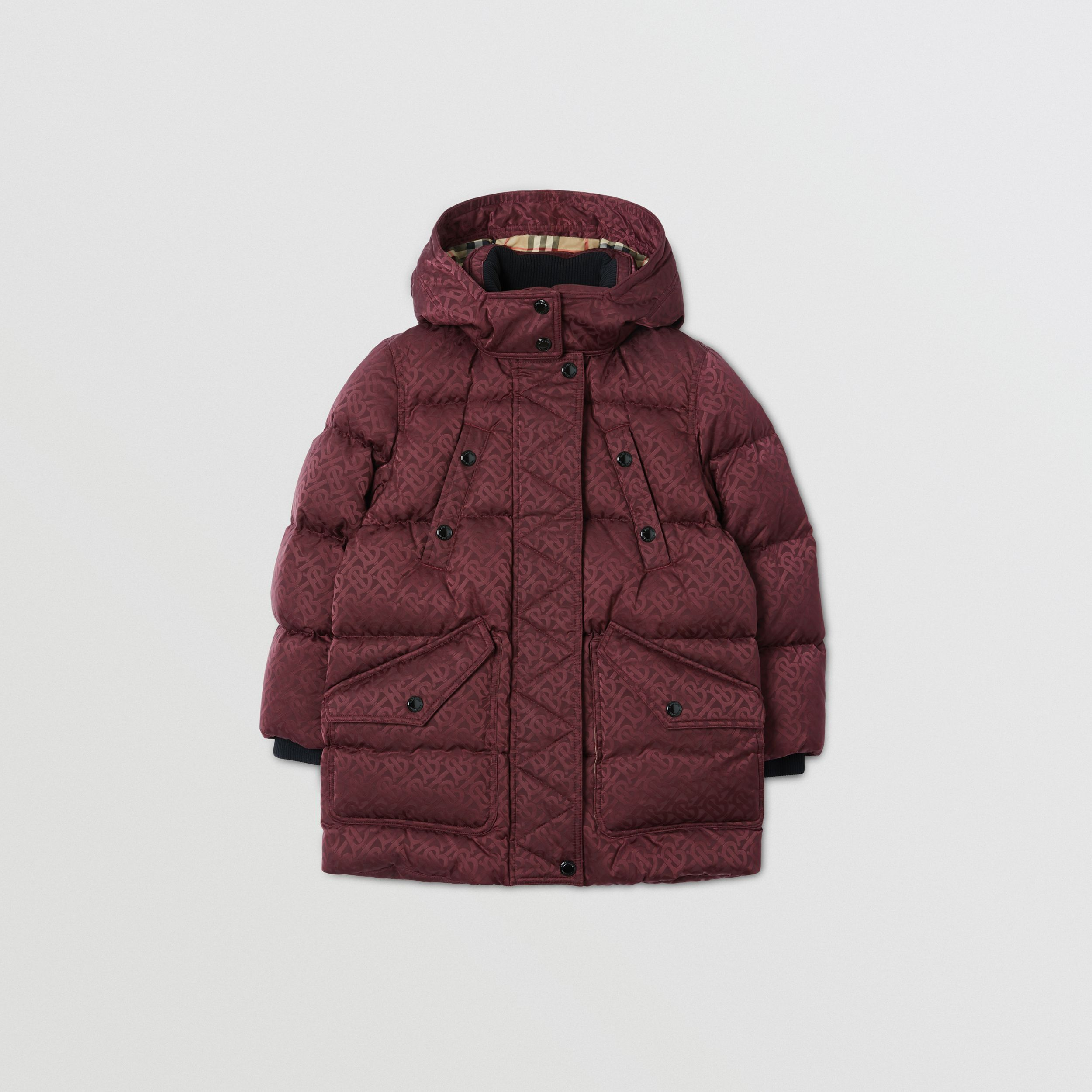 Detachable Hood Monogram Jacquard Puffer Coat | Burberry Singapore - 1