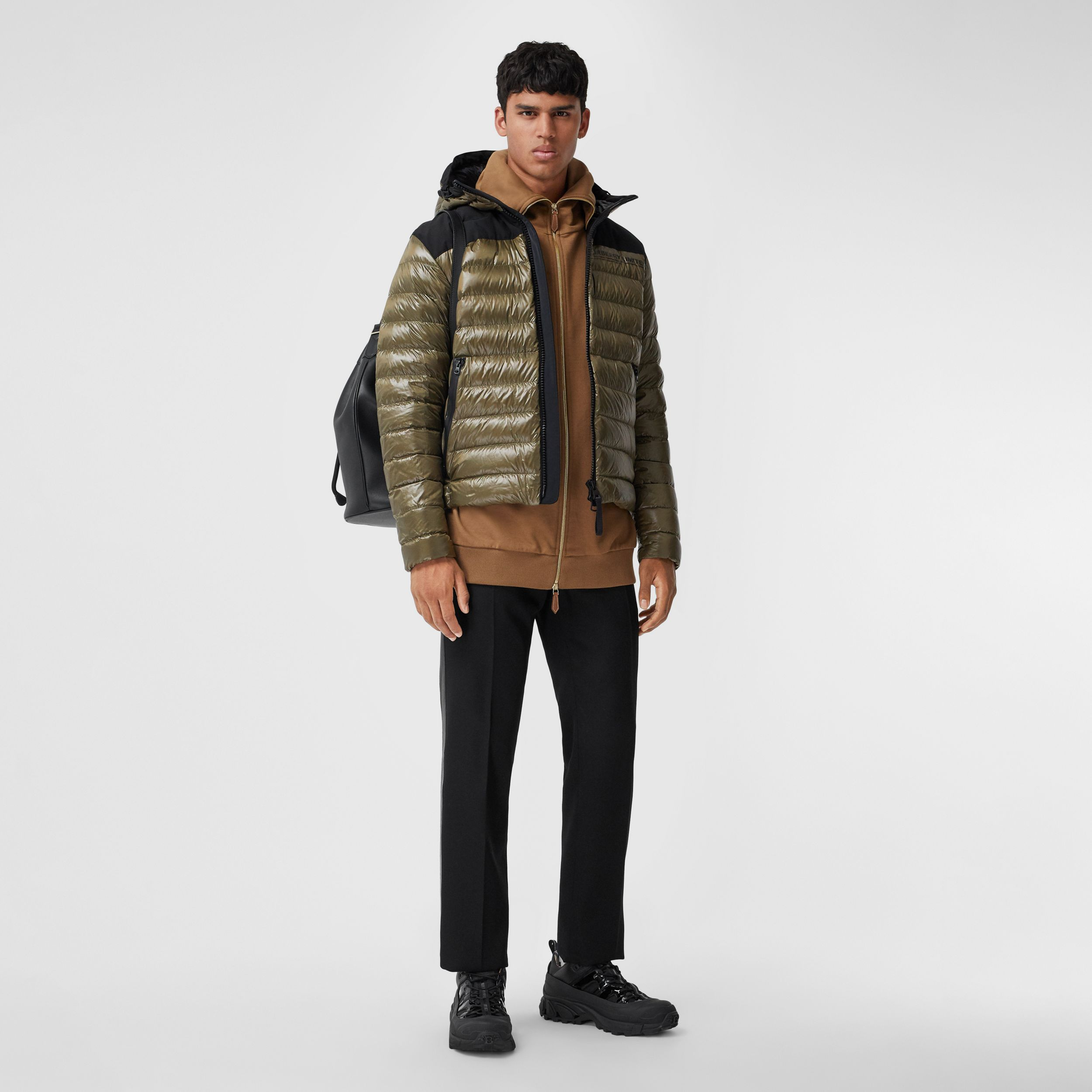 Location Print Hooded Puffer Jacket in Olive - Men | Burberry Australia - 1
