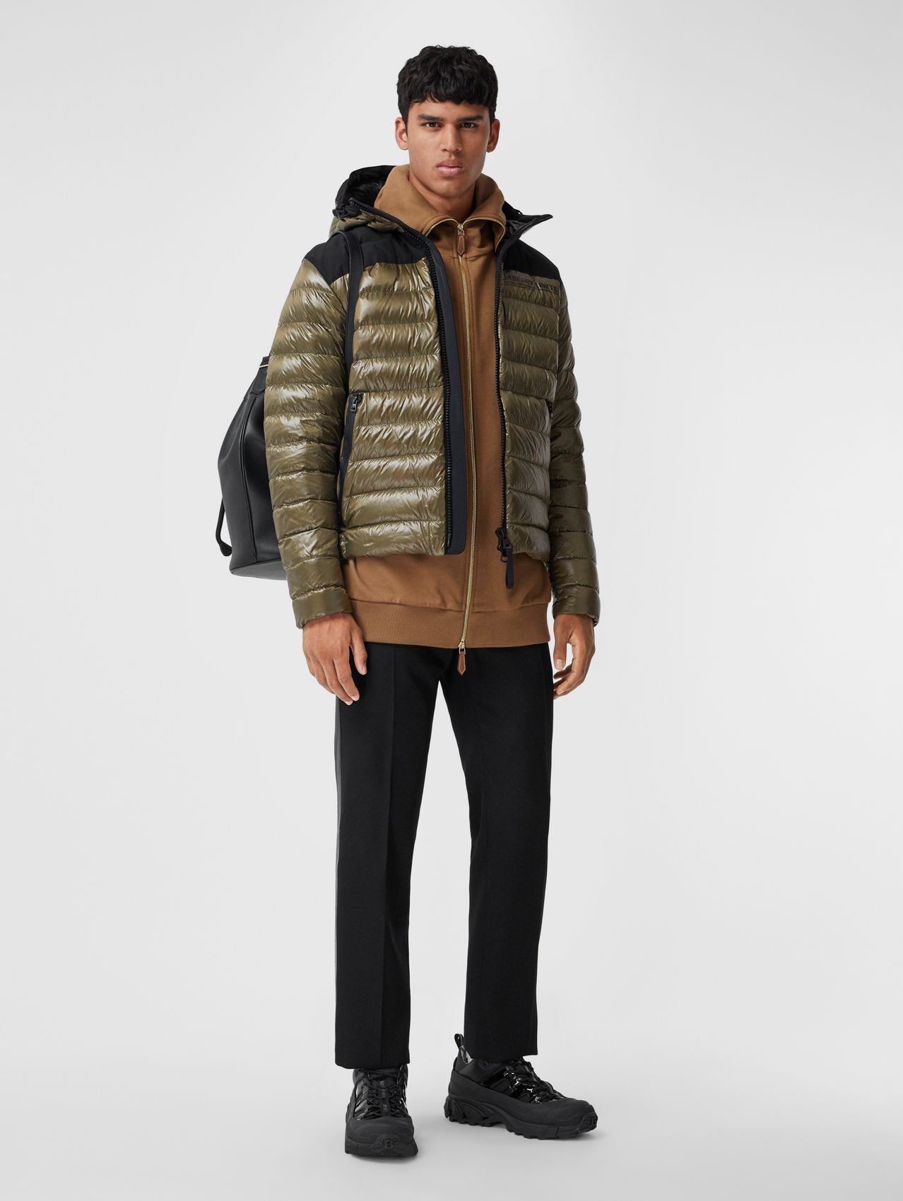 Location Print Hooded Puffer Jacket in Olive