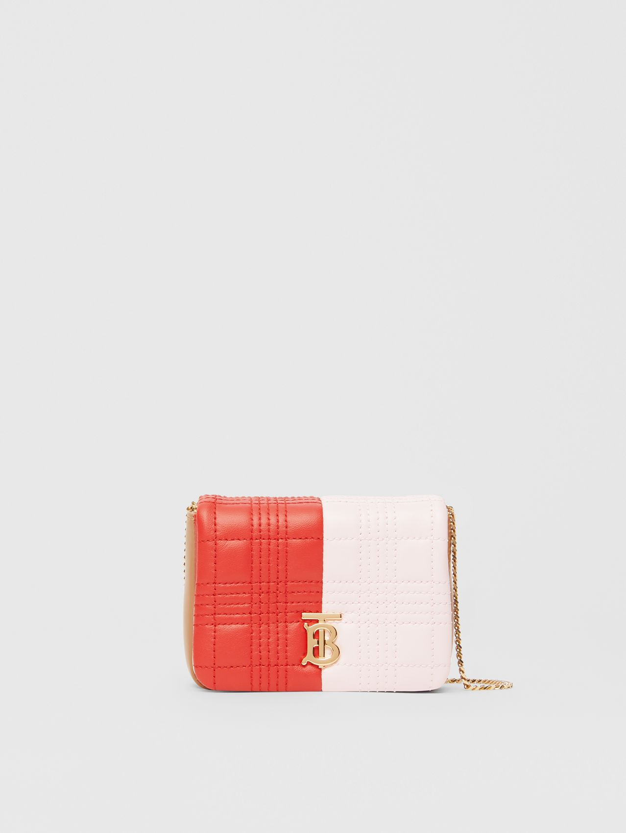 Micro Quilted Tri-tone Lambskin Lola Bag in Red/pink/camel