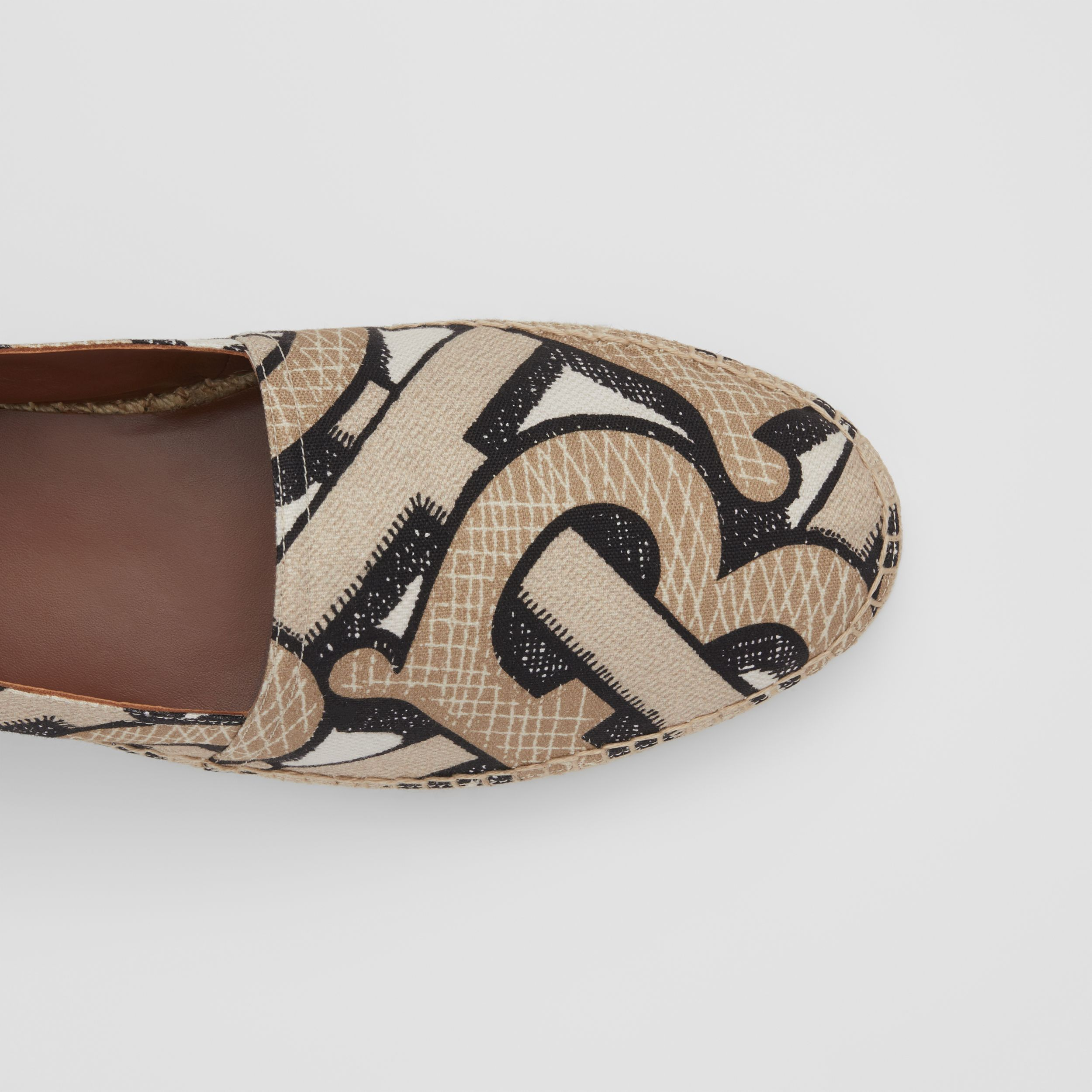 Monogram Print Cotton Canvas Espadrilles in Dark Beige | Burberry - 2