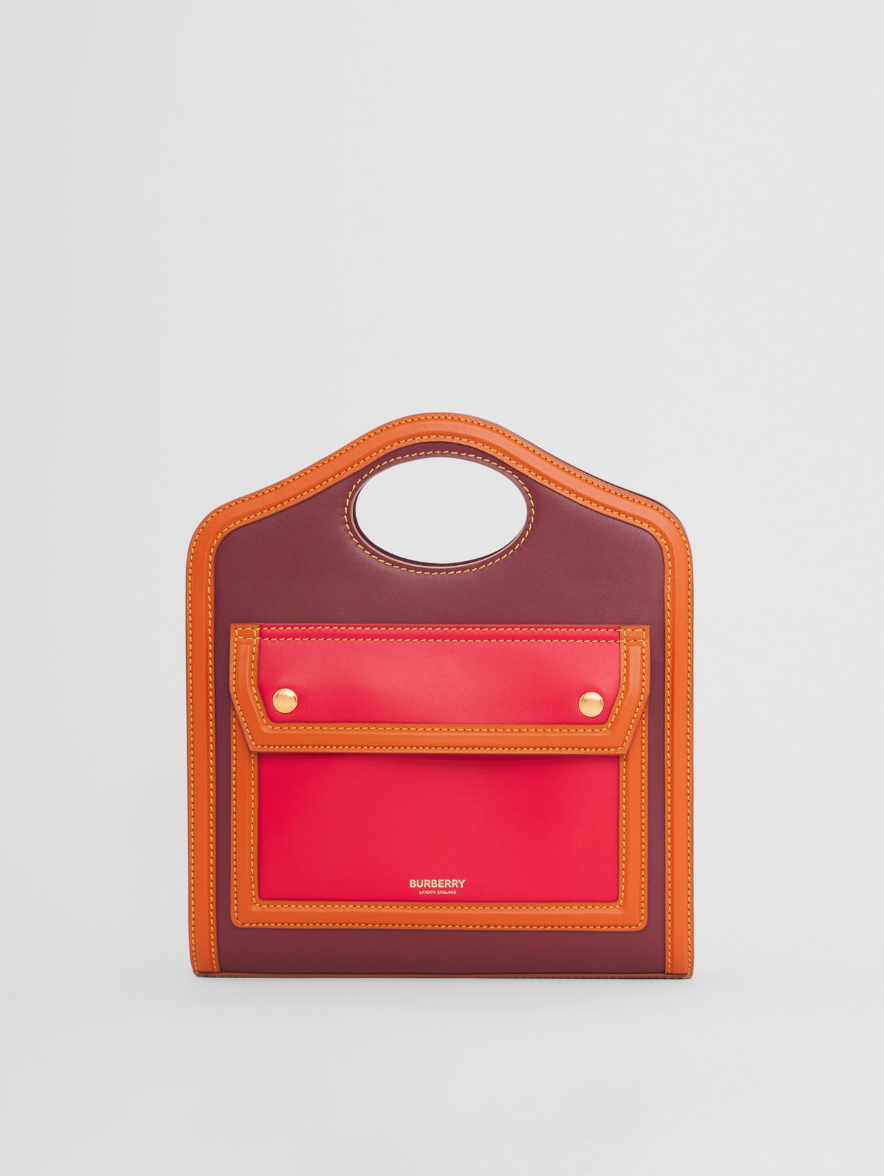 Mini Colour Block Leather Pocket Bag in Garnet