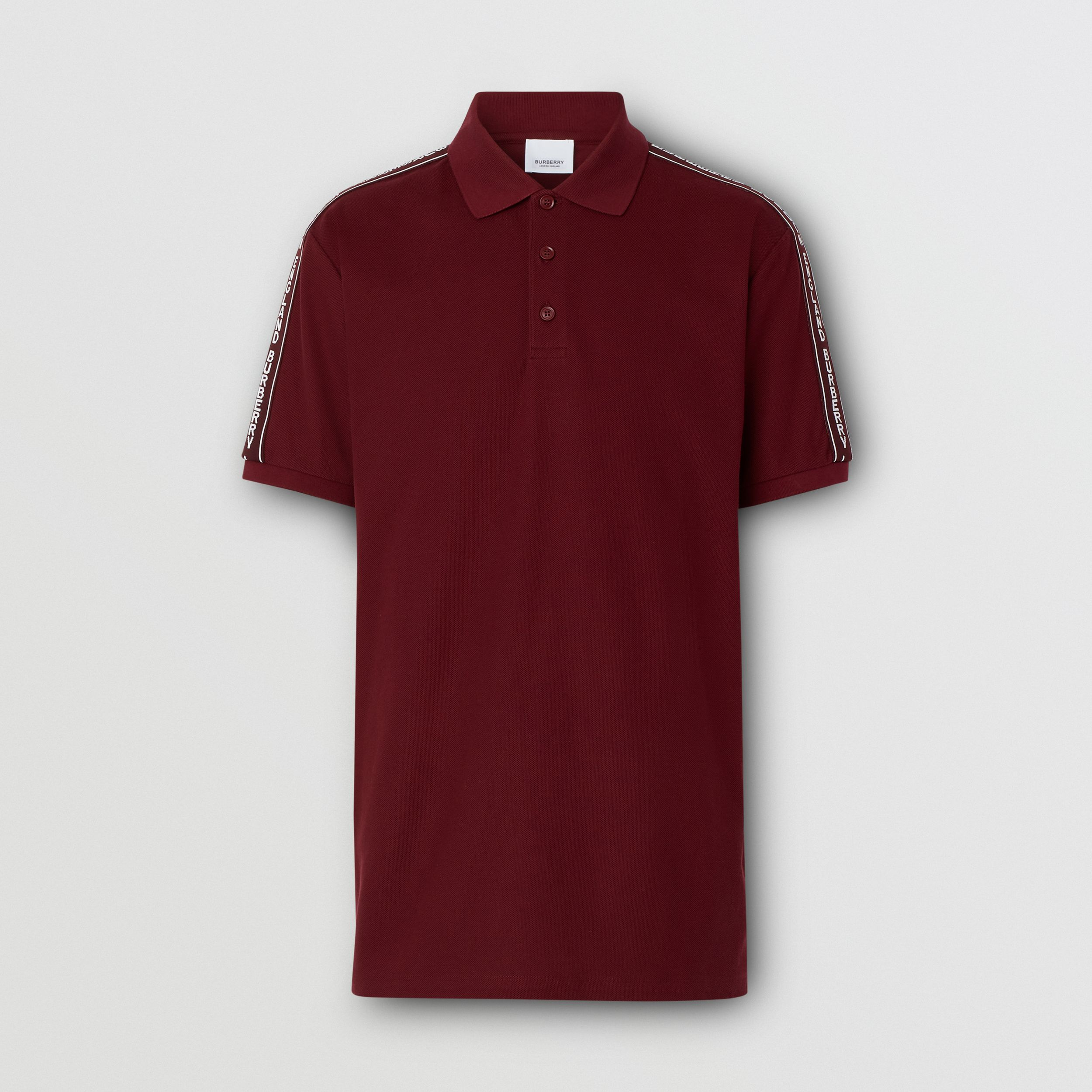 Logo Tape Cotton Piqué Polo Shirt in Deep Merlot - Men | Burberry - 4