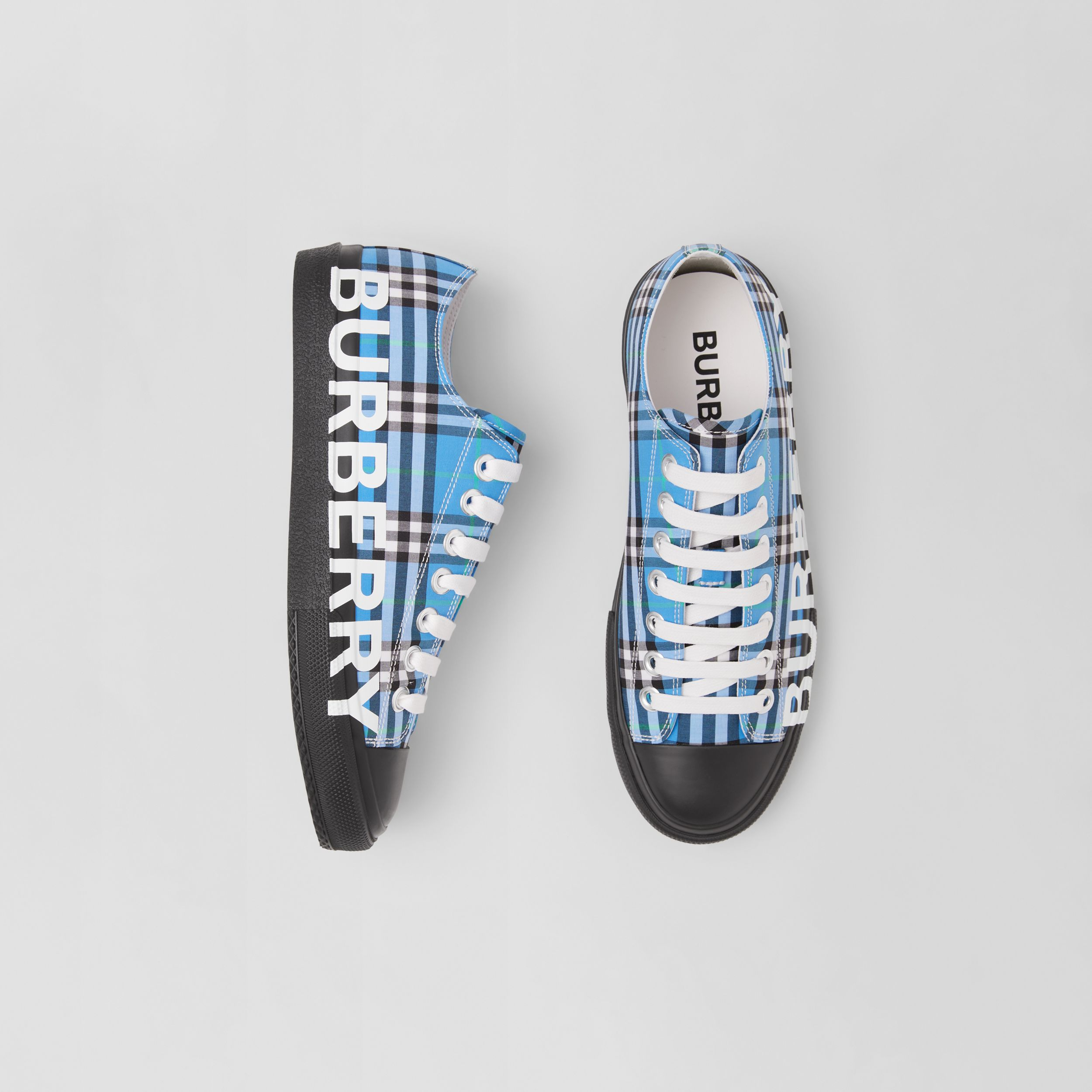 Logo Print Check Cotton Sneakers in Blue Azure - Women | Burberry United States - 1