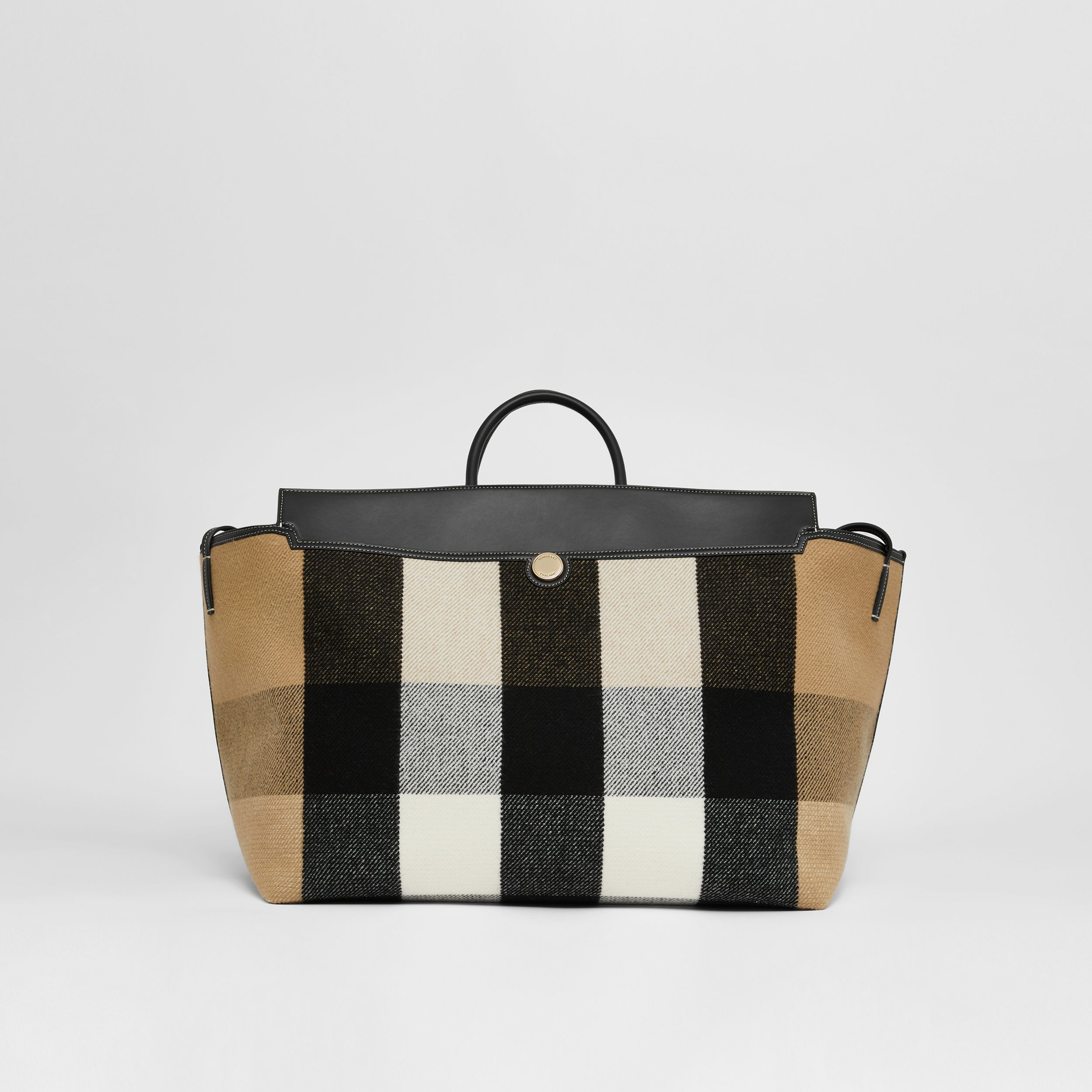 Check Merino Wool Cashmere Society Holdall in Archive Beige | Burberry United Kingdom - 1