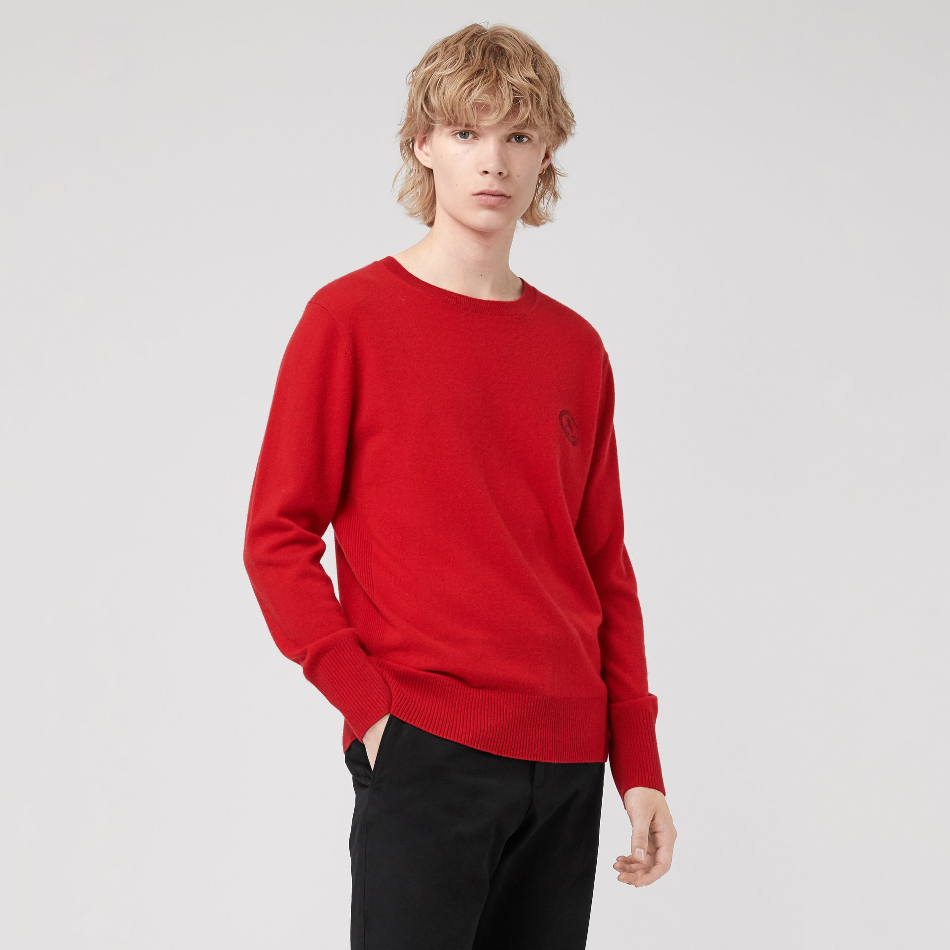 Embroidered Archive Logo Cashmere Sweater in Bright Red - Men | Burberry United Kingdom - gallery image 0