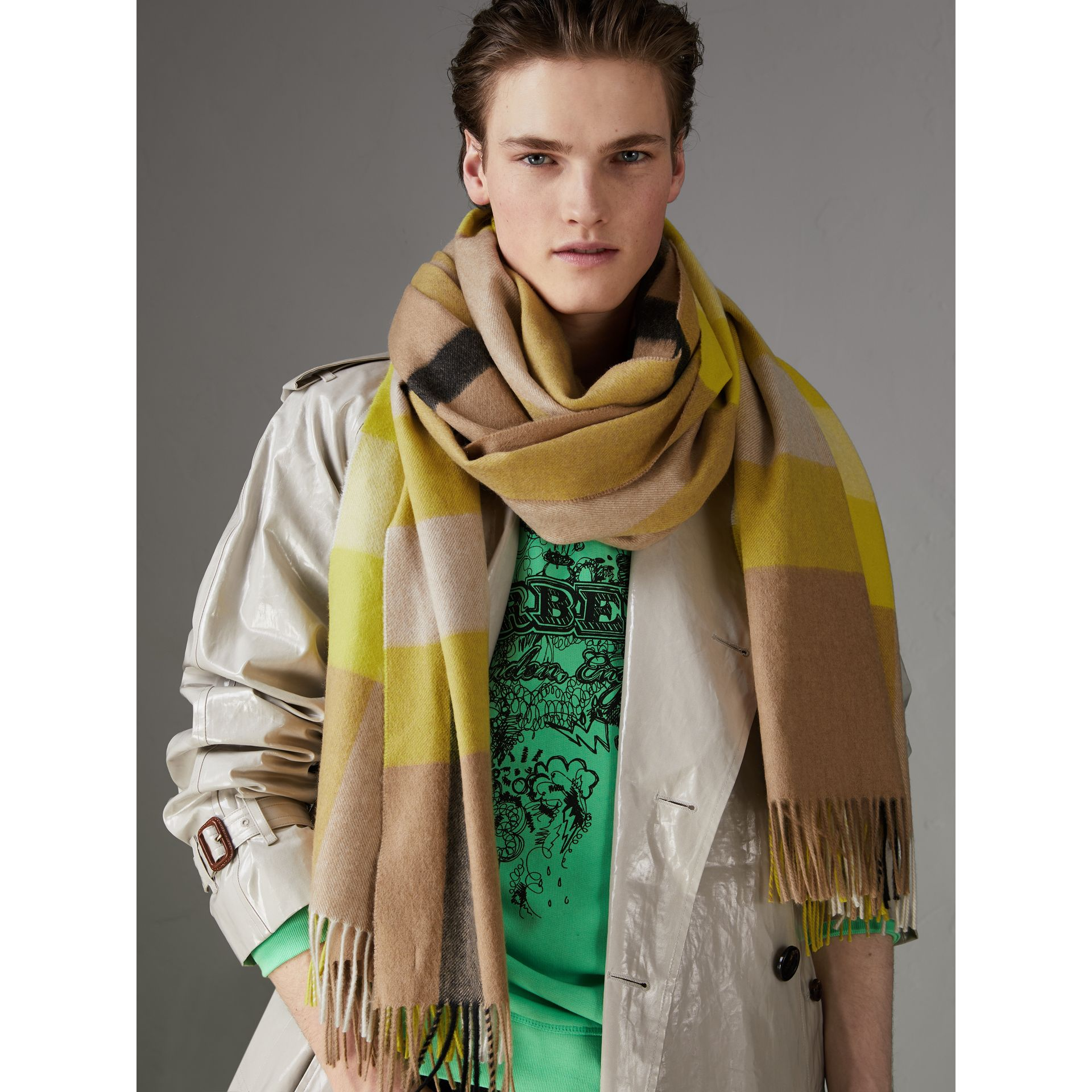 Oversize Check Cashmere Scarf in Bright Lemon | Burberry - gallery image 5