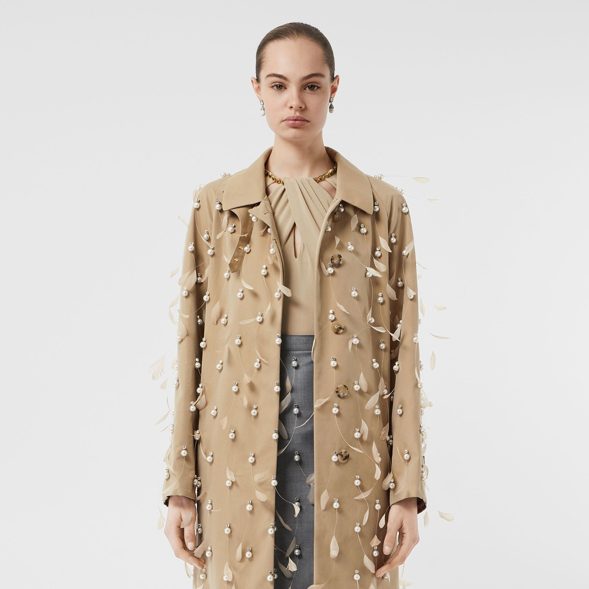 Embellished Cotton Gabardine Car Coat in Pale Honey - Women | Burberry Australia - gallery image 7