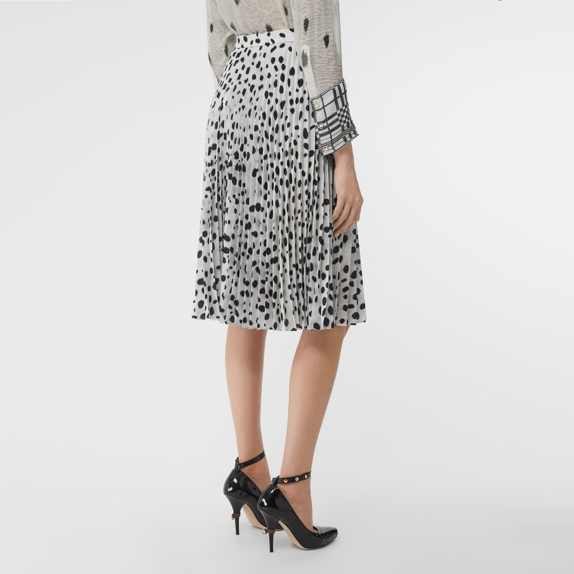 Dalmatian Print Crepe Pleated Skirt in Black/white - Women | Burberry Australia - gallery image 2
