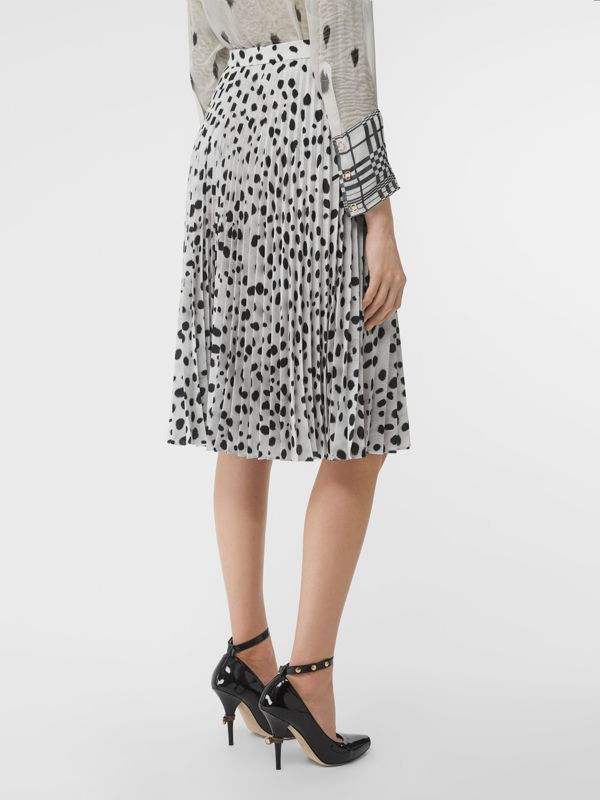 Dalmatian Print Crepe Pleated Skirt in Black/white - Women | Burberry - cell image 2