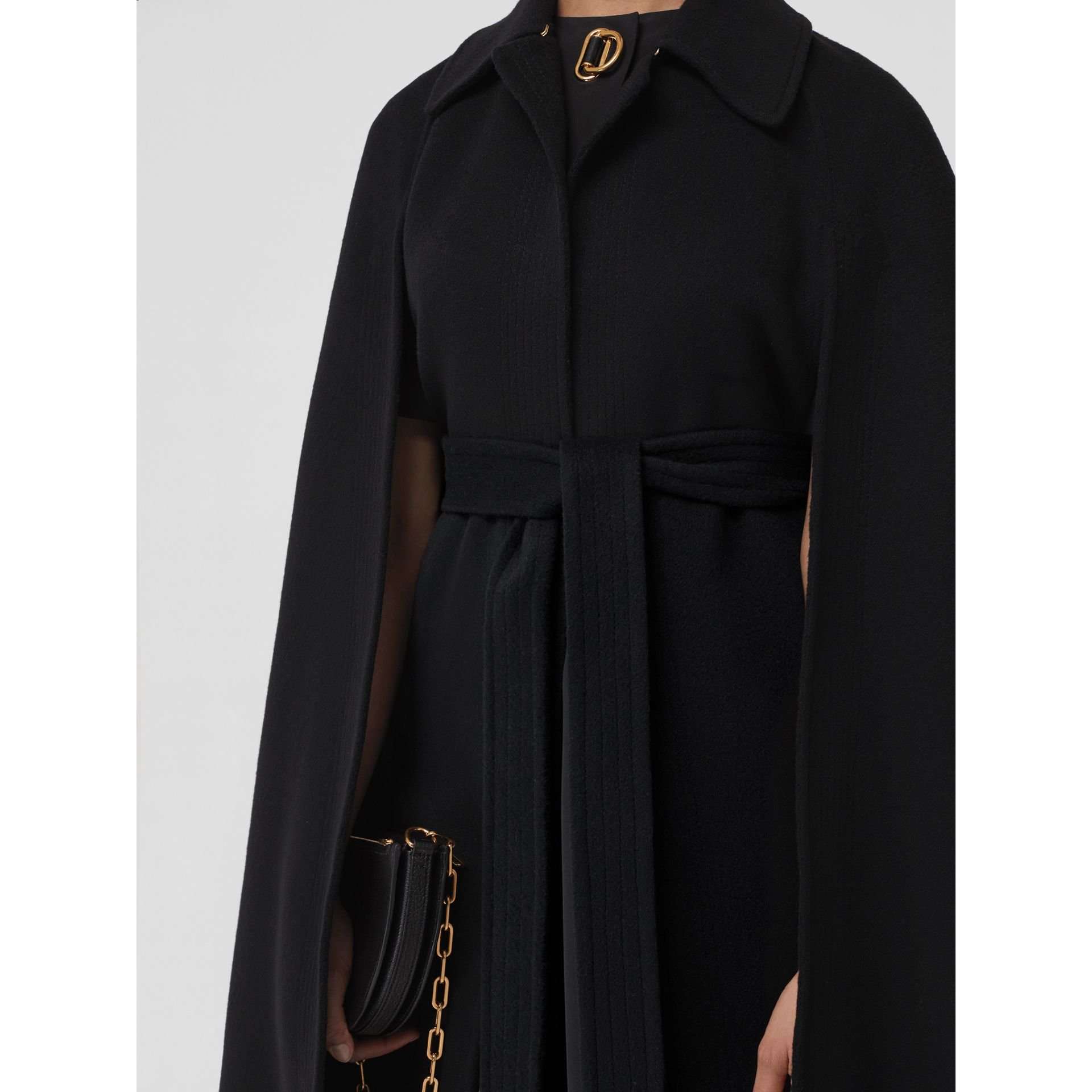 Double-faced Cashmere Belted Cape in Black - Women | Burberry United Kingdom - gallery image 1