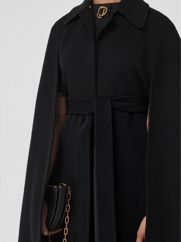 Double-faced Cashmere Belted Cape in Black - Women | Burberry United Kingdom - cell image 1