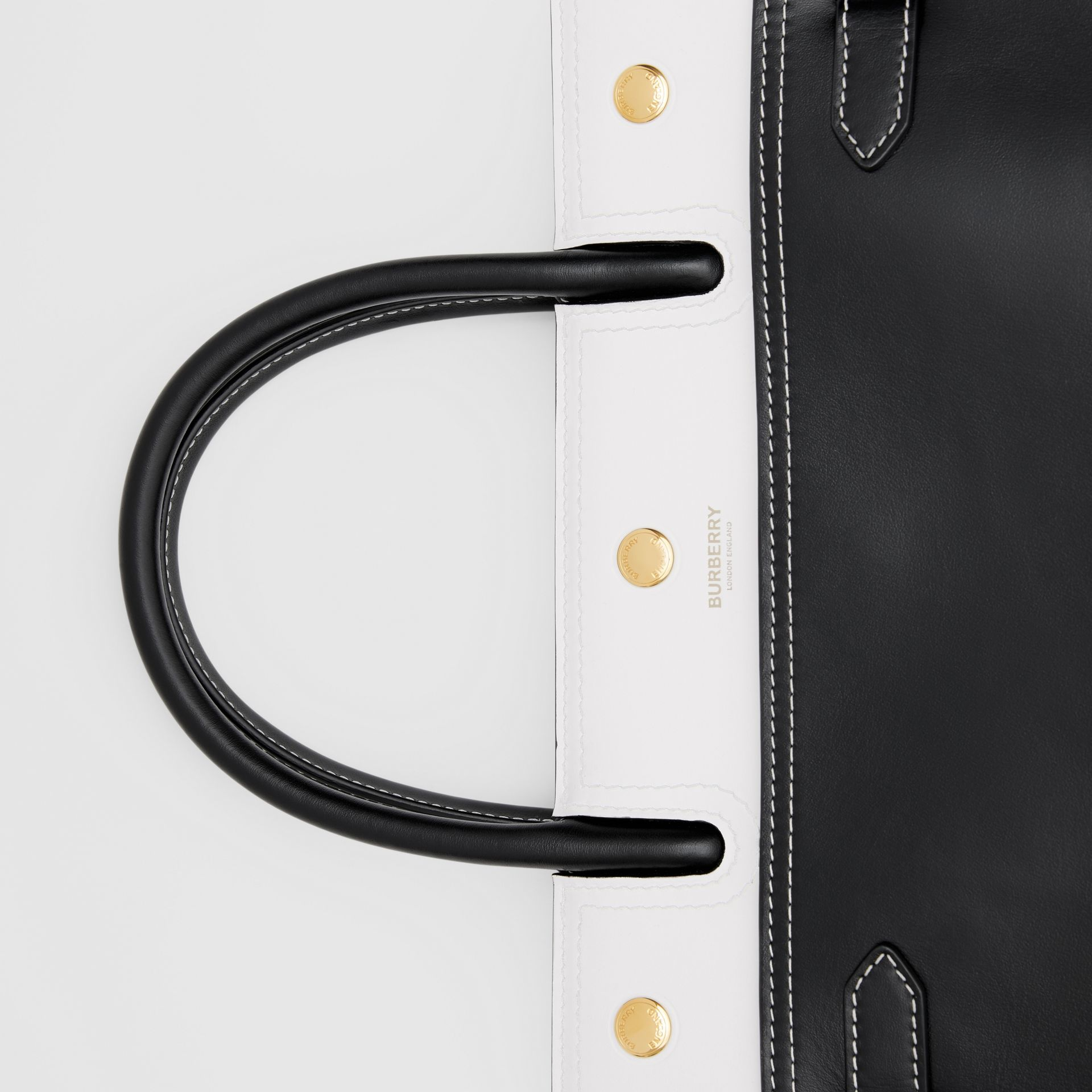 Small Leather Two-handle Title Bag in Black/white - Women | Burberry - gallery image 1