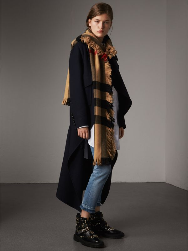 Fringed Check Wool Scarf in Camel | Burberry Singapore - cell image 2
