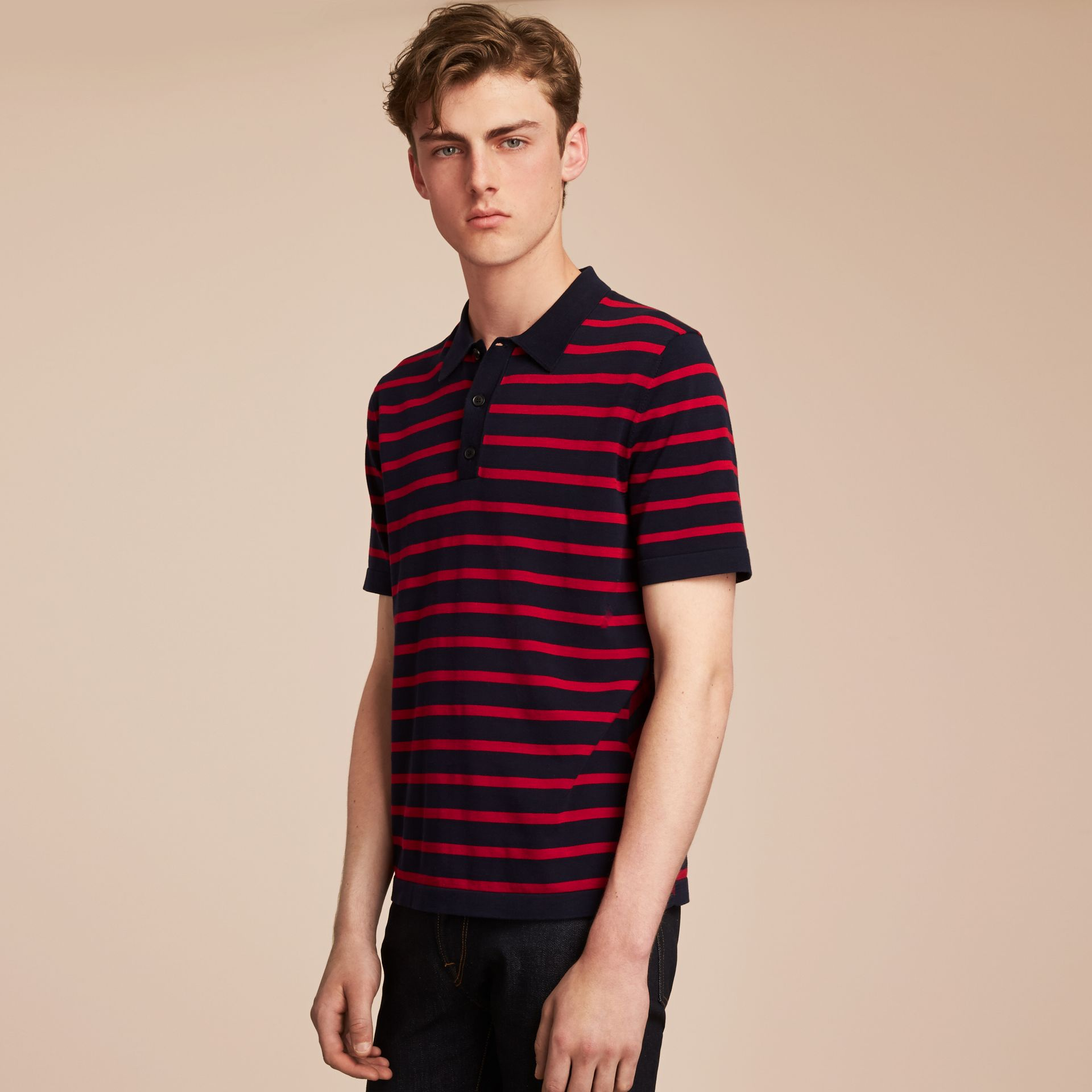 Breton Stripe Cotton Polo Shirt Navy - gallery image 6