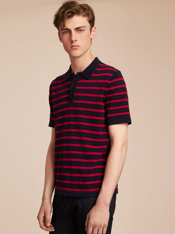Breton Stripe Cotton Polo Shirt in Navy - Men | Burberry