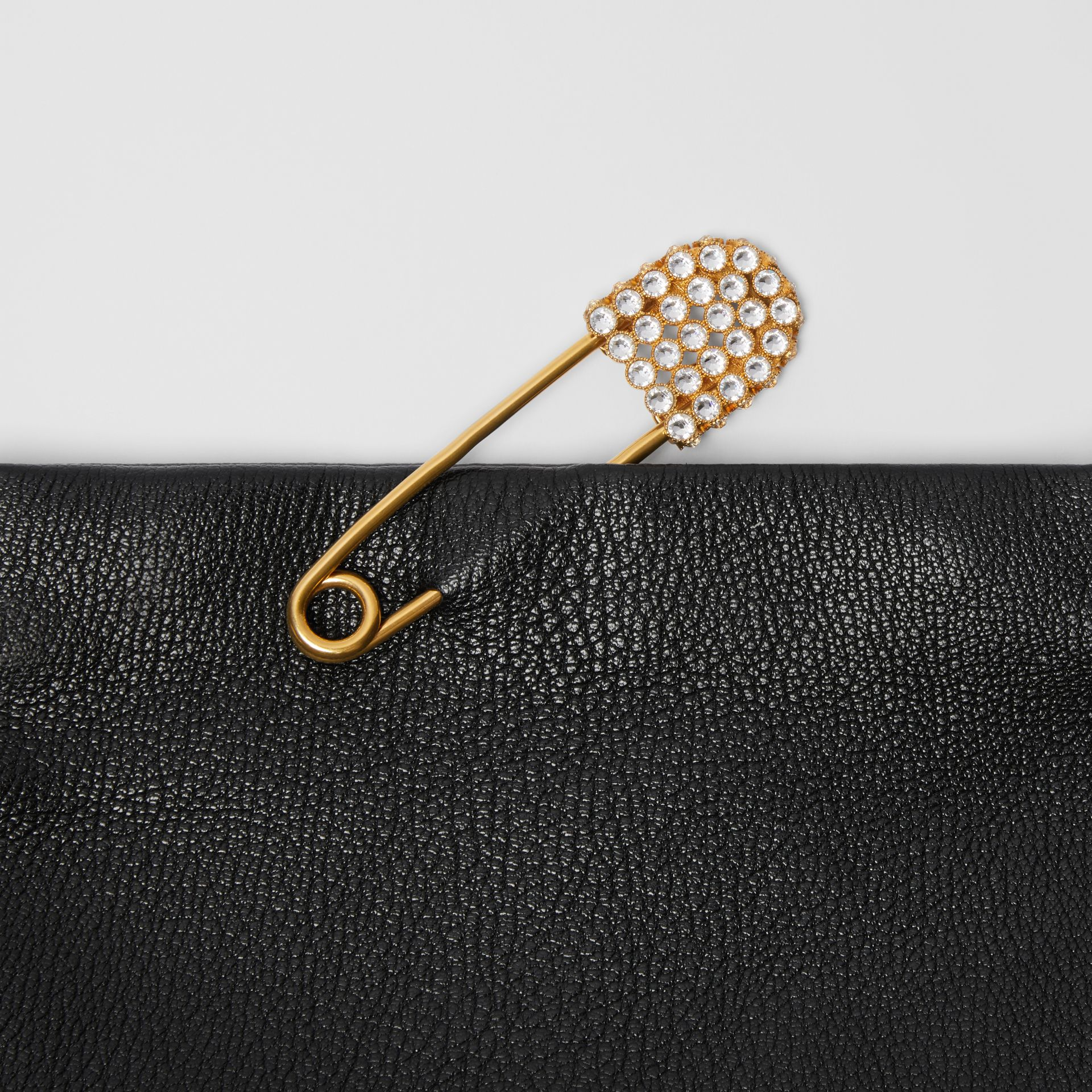 The Small Pin Clutch in Leather in Black - Women | Burberry - gallery image 1