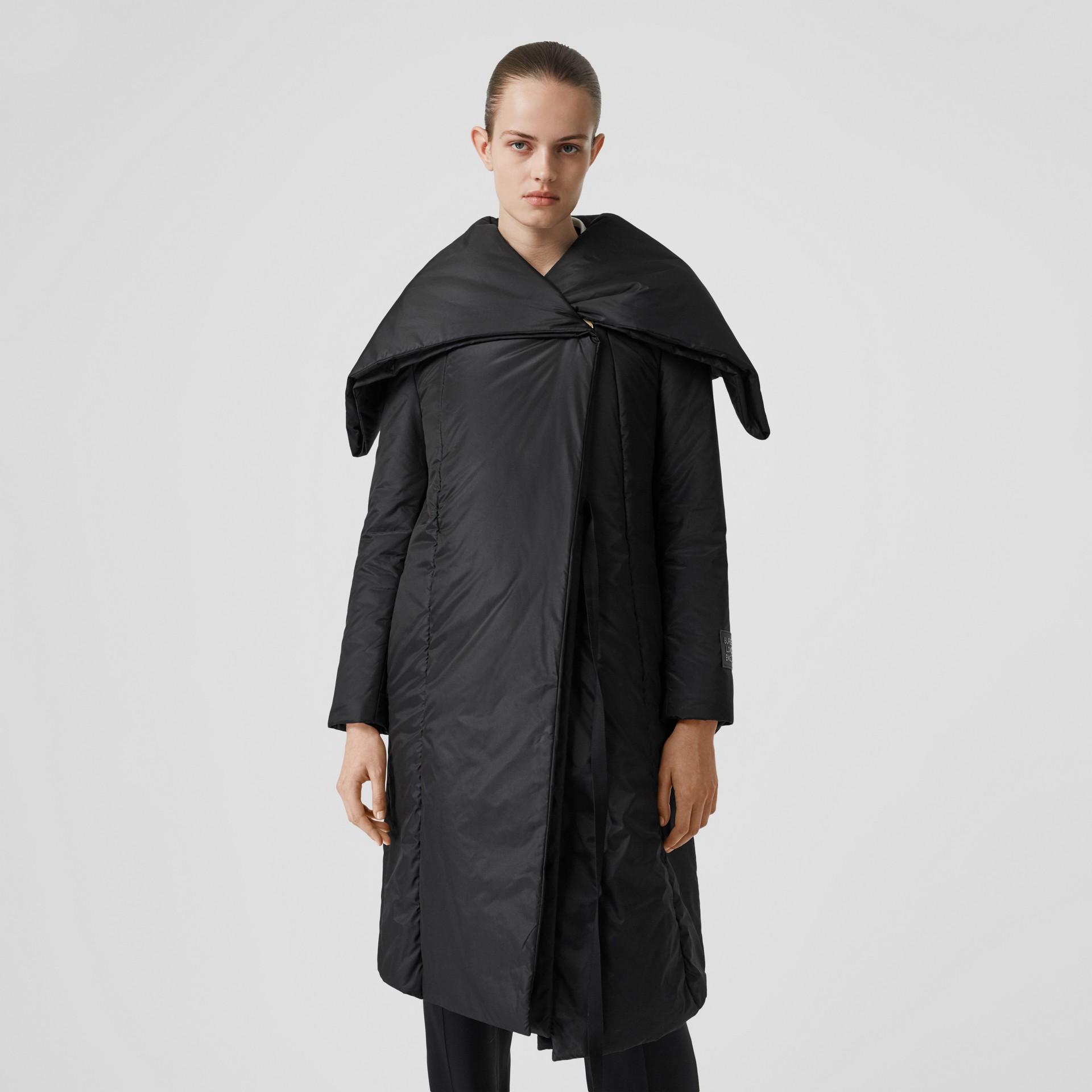 Cape Detail Silk Blend Wrap Coat in Black - Women | Burberry Singapore - gallery image 6