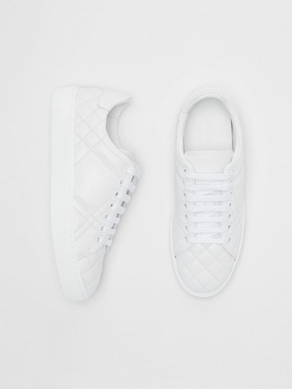 Check-quilted Leather Sneakers in Optic White