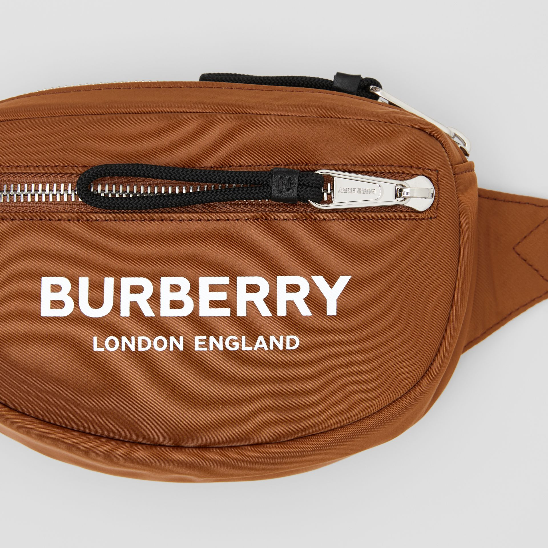 Mini Logo Print Bum Bag in Dark Camel | Burberry Canada - gallery image 1
