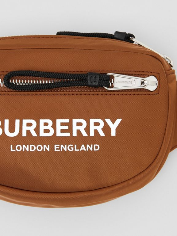 Mini Logo Print Bum Bag in Dark Camel | Burberry Canada - cell image 1