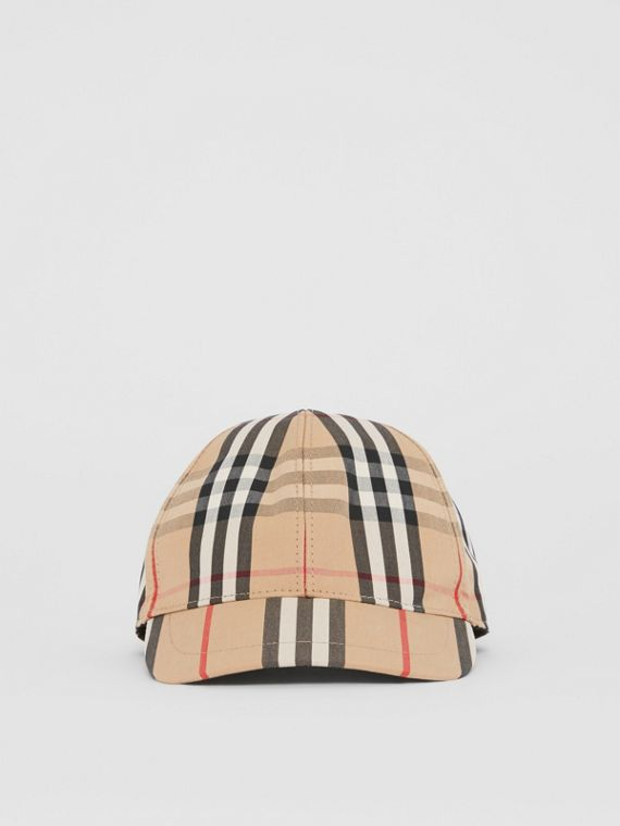 364b4e19f7c Vintage Check and Icon Stripe Baseball Cap in Archive Beige