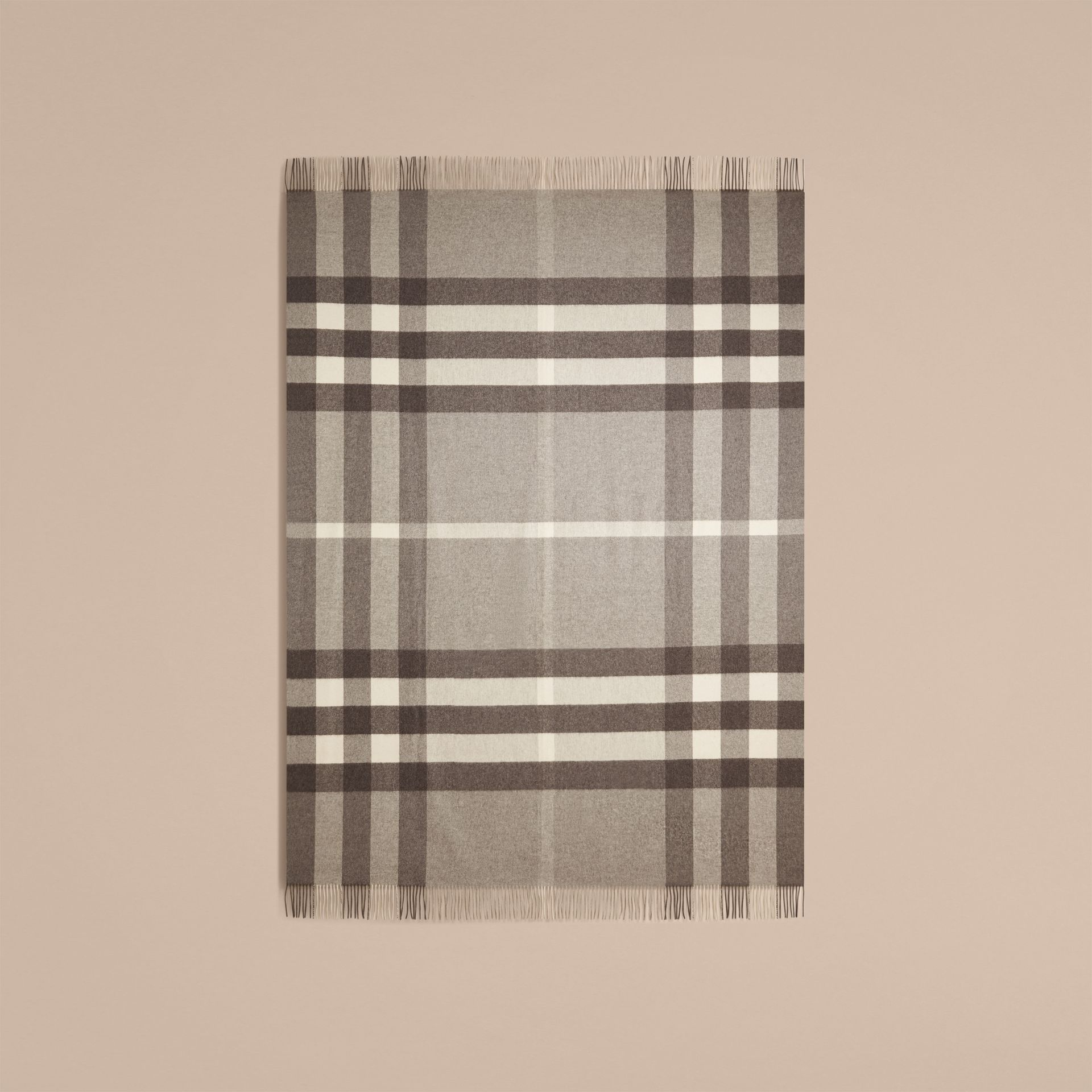 Pale grey Check Cashmere Blanket Pale Grey - gallery image 3