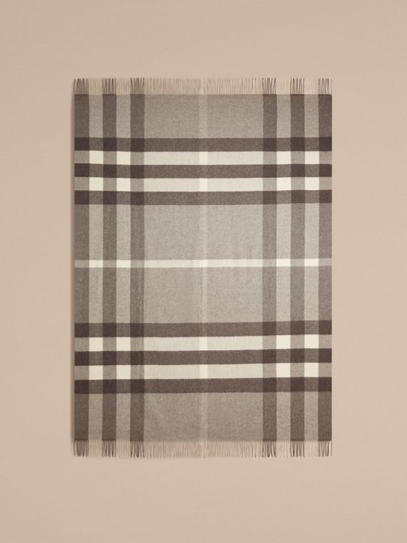 Pale grey Check Cashmere Blanket Pale Grey - cell image 2