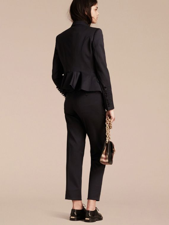 Back Peplum Wool Blend Tuxedo Jacket - Women | Burberry - cell image 2
