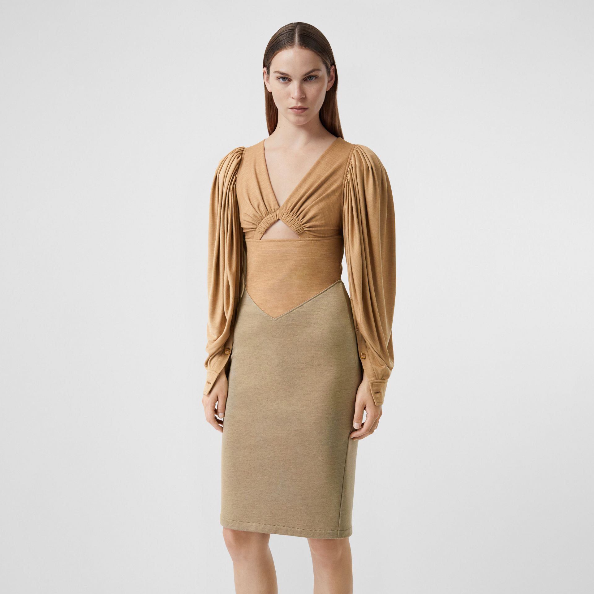 Panelled Wool Silk Jersey Dress in Pecan Melange - Women | Burberry - gallery image 3