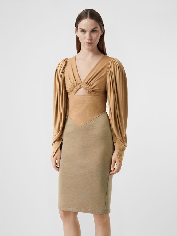 Panelled Wool Silk Jersey Dress in Pecan Melange - Women | Burberry - cell image 3