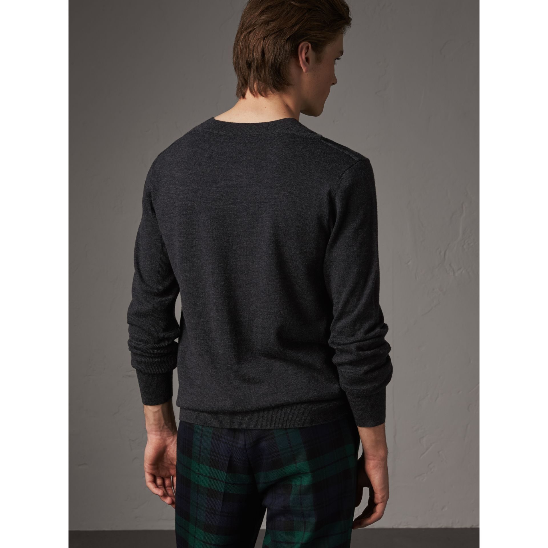 Check Detail Merino Wool Sweater in Charcoal - Men | Burberry - gallery image 2