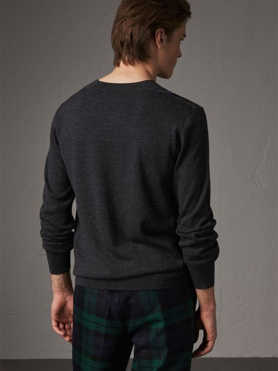 Check Detail Merino Wool Sweater in Charcoal - Men | Burberry - cell image 2