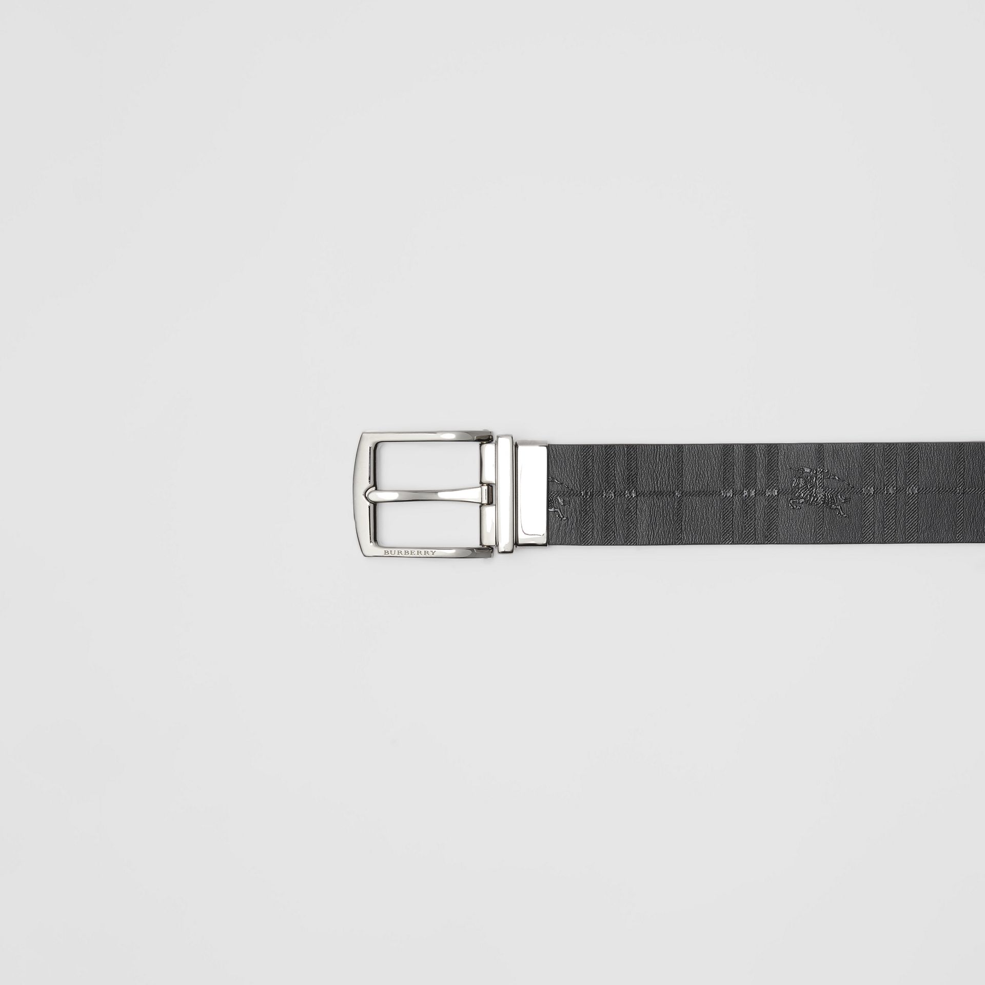 Reversible EKD Check Leather Belt in Black - Men | Burberry - gallery image 1